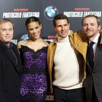 Brad Bird, Paula Patton, Tom Cruise y Simon Pegg en Madrid
