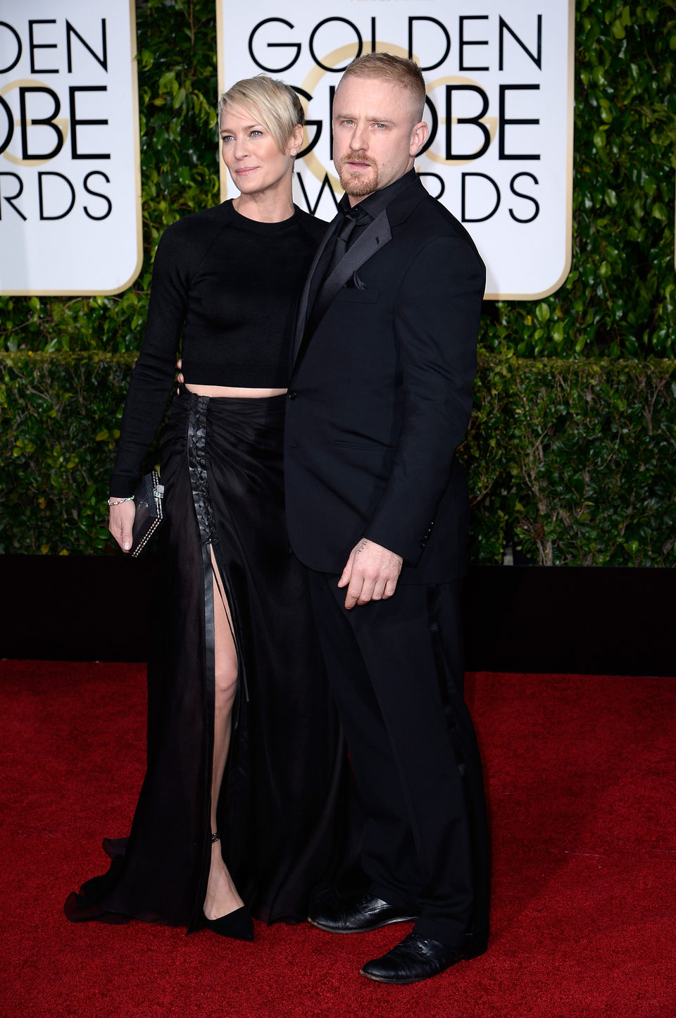 Robin Wright and Ben Foster at the Golden Globes 2015 red ...