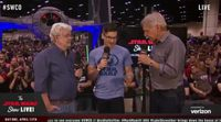 Harrison Ford y George Lucas entrevistados en la Star Wars Celebration en Orlando