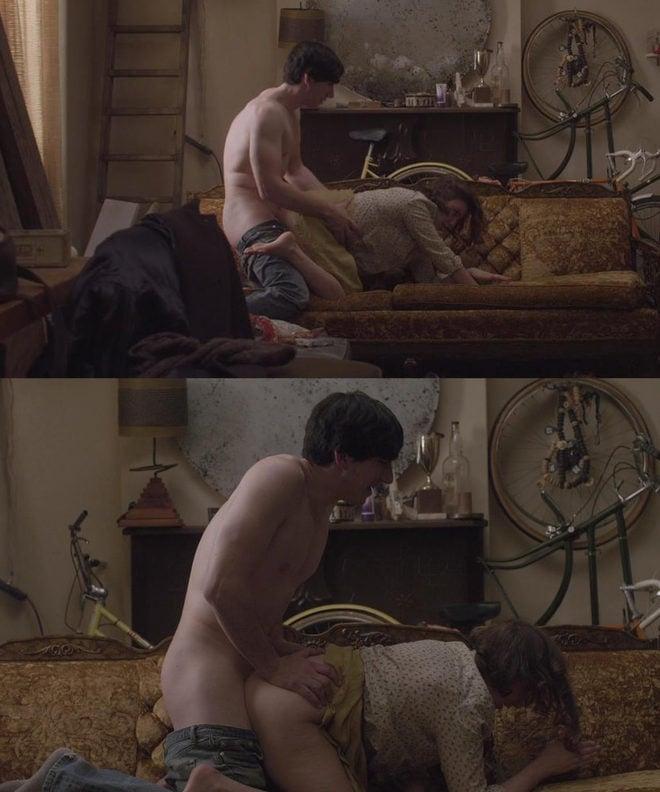 Nude women crouching