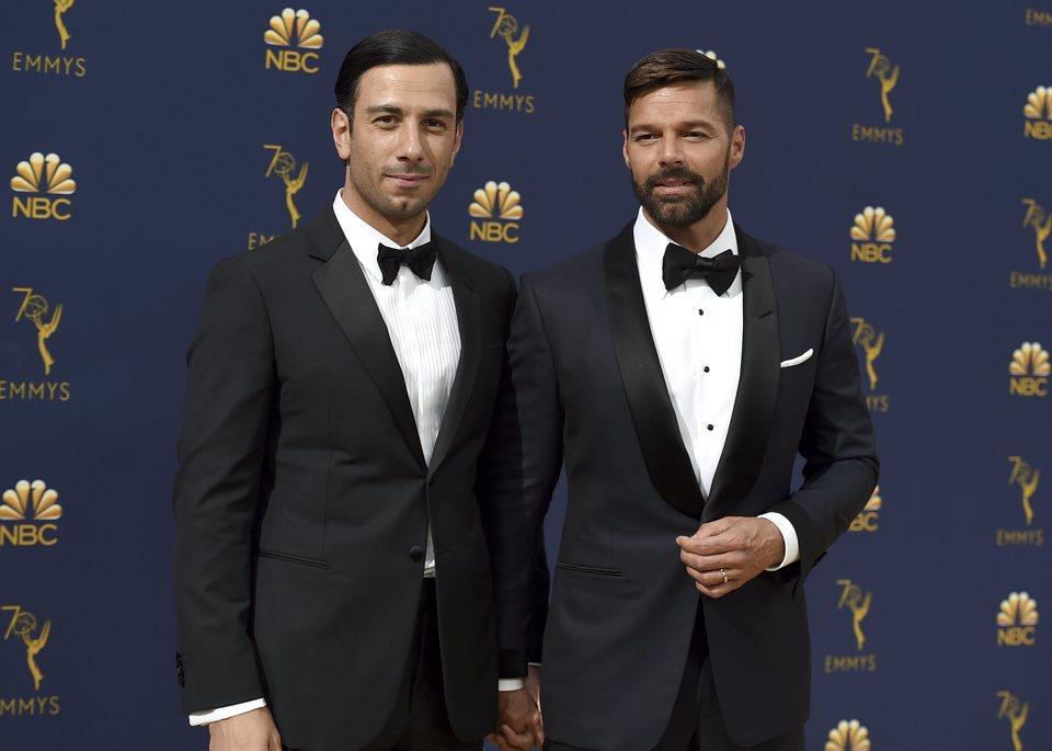 Ricky Martin y su marido en los Emmy 2018
