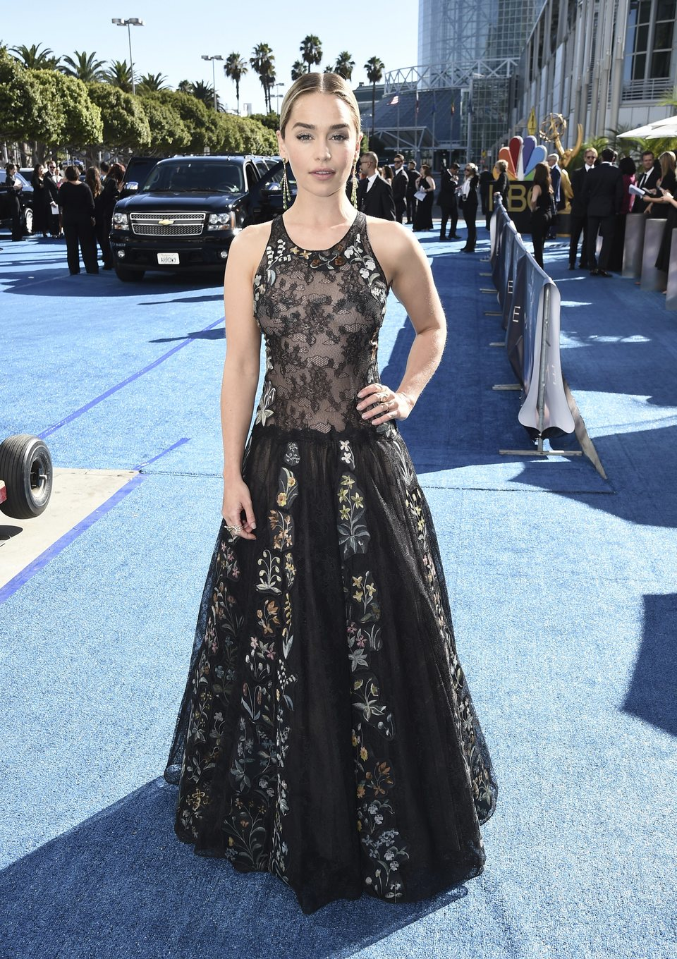 Emilia Clarke at the Emmys 2018 red carpet