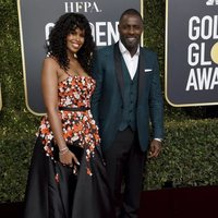 Idris Elba and Sabrina Dhowre on the red carpet at the Golden Globes 2019