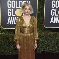 Lucy Boynton on the red carpet at the Golden Globes 2019