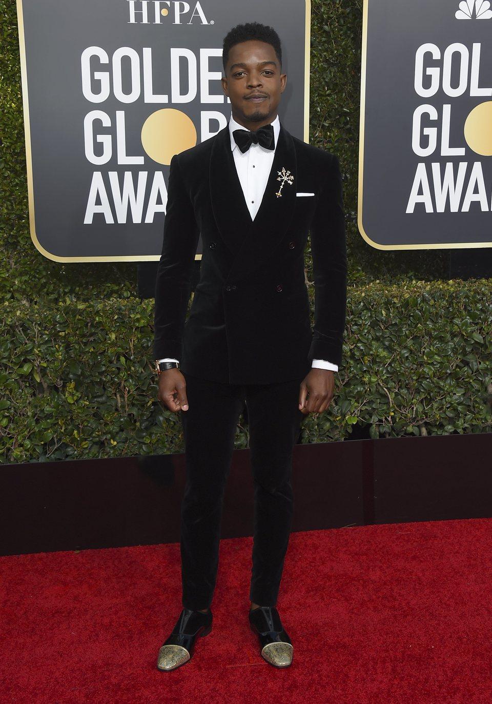Stephan James en la alfombra roja de los Globos de Oro 2019