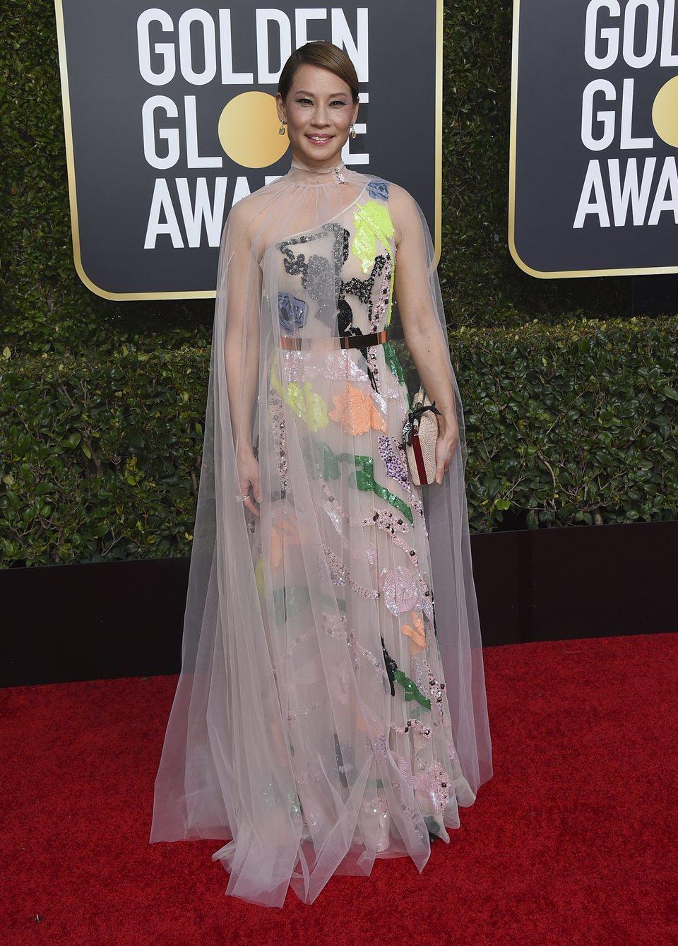 Lucy Liu en la alfombra roja de los Globos de Oro 2019