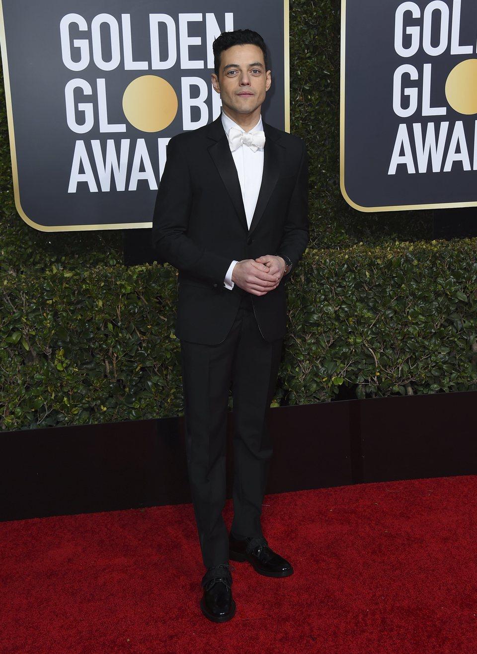 Rami Malek en la alfombra roja de los Globos de Oro 2019