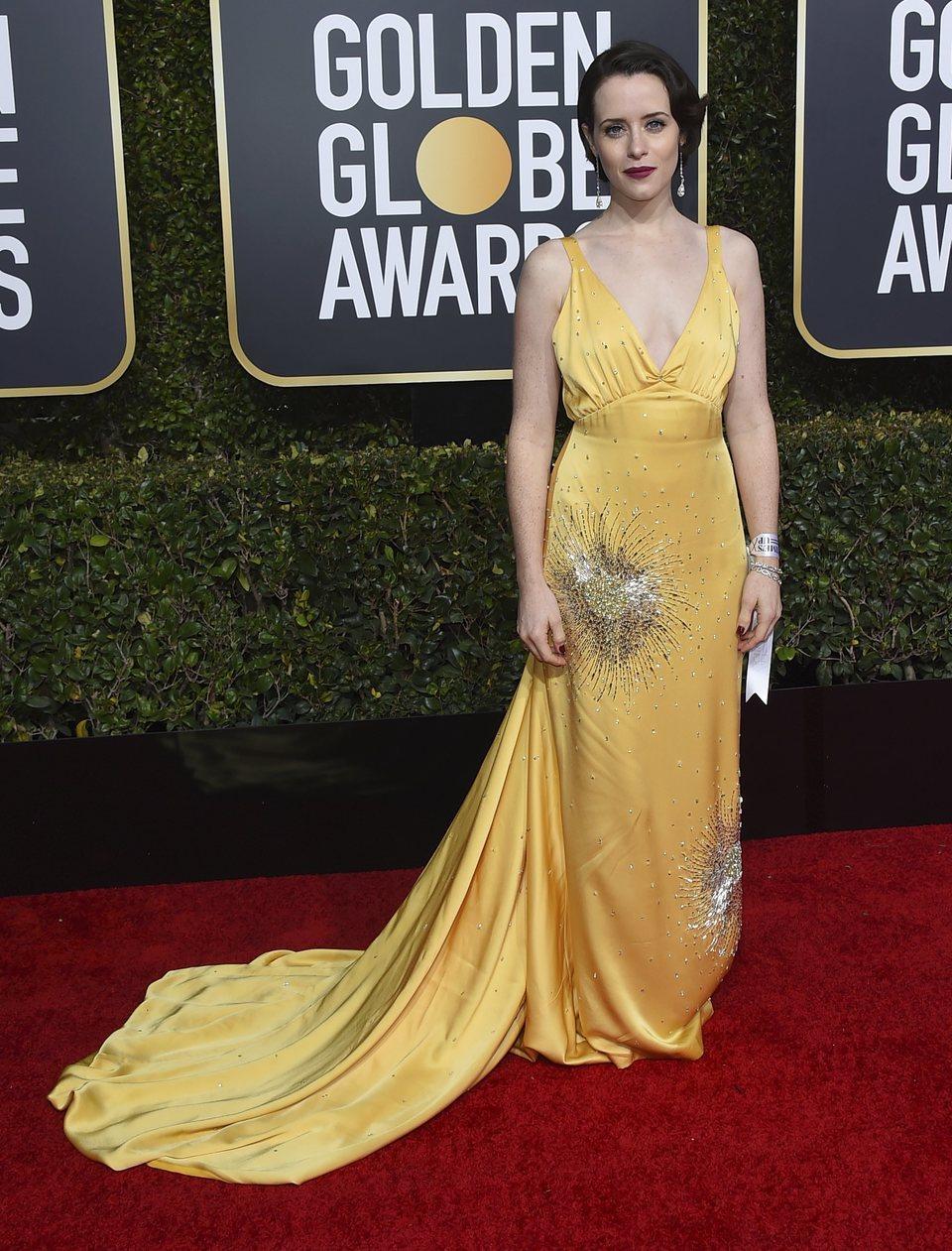 Claire Foy en la alfombra roja de los Globos de Oro 2019