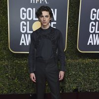 Timothée Chalamet en la alfombra roja de los Globos de Oro 2019
