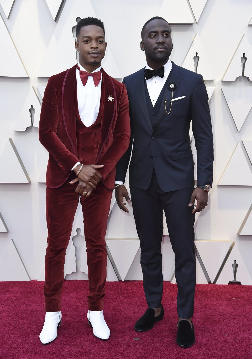 Stephan James and Shamier Anderson at the Oscars 2019 red carpet