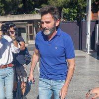 Fernando Tejero en el tanatorio por la muerte de Eduardo Gómez