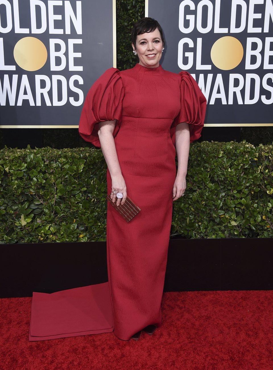 Olivia Colman en la alfombra roja de los Globos de Oro 2020