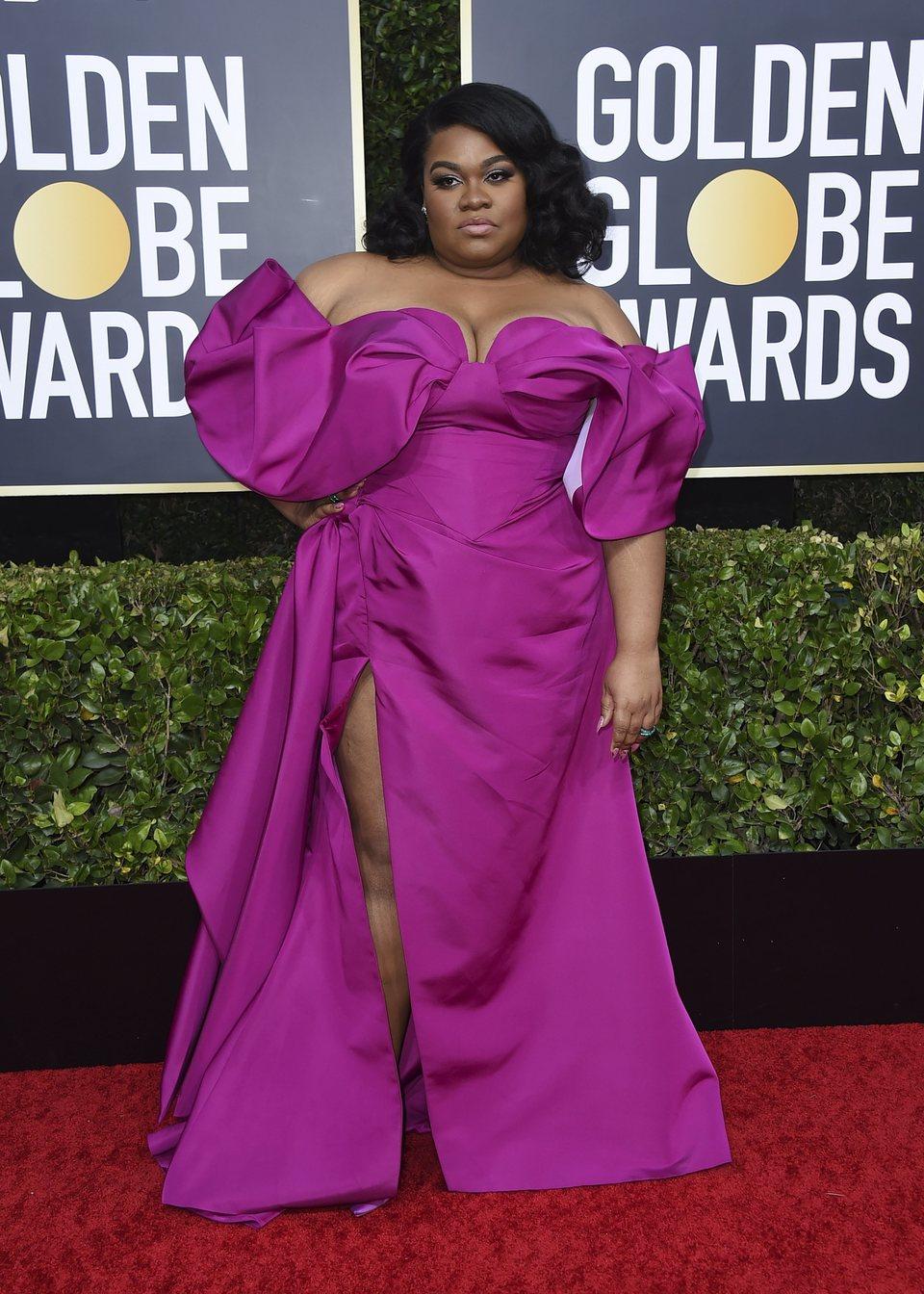 Da'Vine Joy Randolph en la alfombra roja de los Globos de Oro 2020