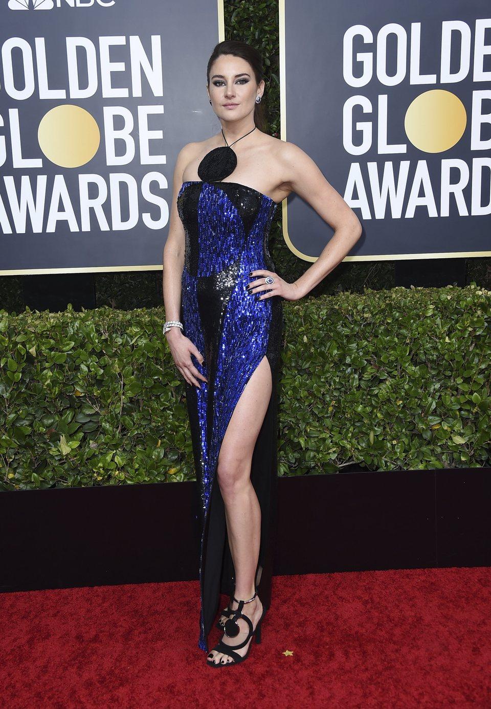 Shailene Woodley en la alfombra roja de los Globos de Oro 2020