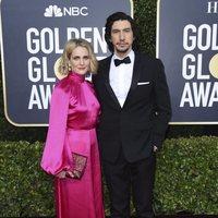 Adam Driver y Joanne Tucker en la alfombra roja de los Globos de Oro 2020