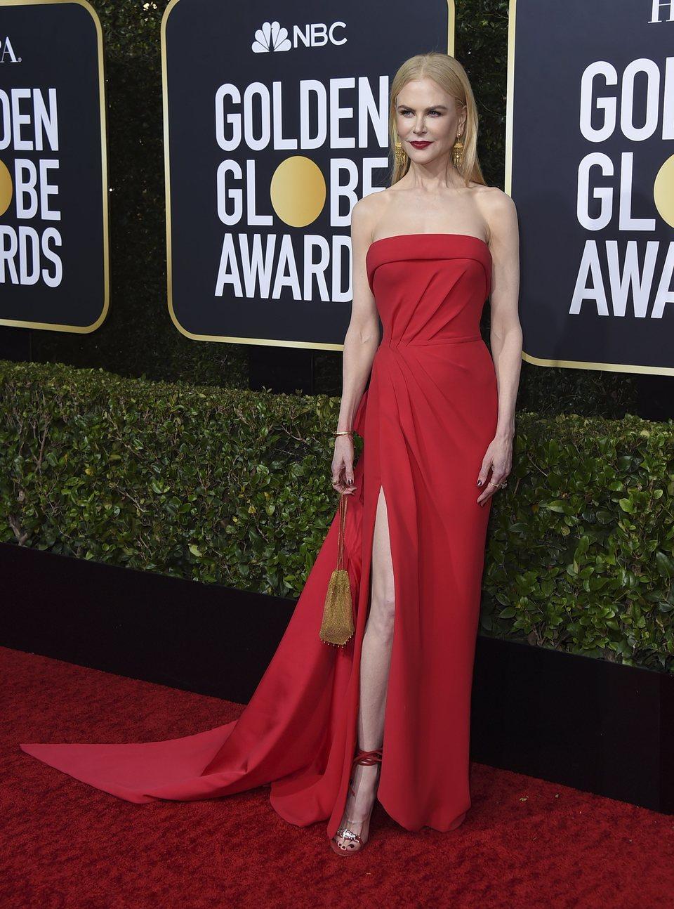 Nicole Kidman en la alfombra roja de los Globos de Oro 2020