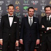 Jon Garaño, Aitor Arregi y José Mari Goenaga en la alfombra roja de los Premios Goya 2020