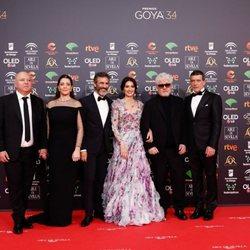 El equipo de 'Dolor y gloria' en la alfombra roja de los Premios Goya 2020