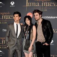 Robert Pattinson Taylor Lautner y Kristen Stewart en Madrid
