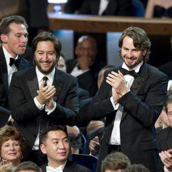 Greg Shapiro y Mark Boal en la Geoffrey Fletcher y Sheldon Turne en la 82ª edición de los Oscar