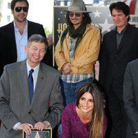 Penélope Cruz, Johnny Depp, Javier Bardem y Rob Marshall en el Paseo de la Fama