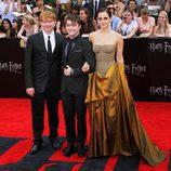 Rupert Grint, Daniel Radcliffe y Emma Watson en la alfombra roja de Nueva York