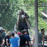 Tom Hardy como Bane en el set de 'The Dark Knight rises'
