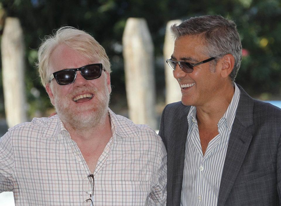 Philip Seymour Hoffman y George Clooney en el Festival de Venecia