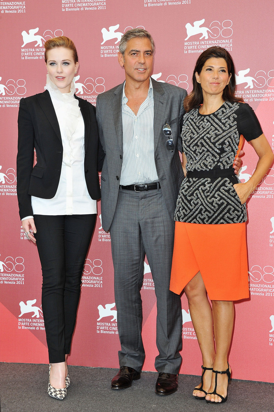 Evan Rachel Wood, George Clooney y Marisa Tomei presentan en el Festival de Venecia 'The Ides of March'