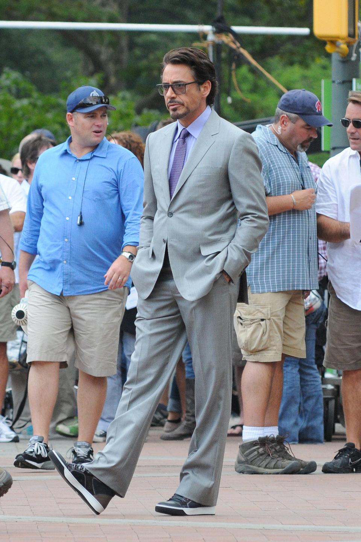 Robert Downey Jr. en la piel de Tony Stark durante el rodaje de 'Los Vengadores'