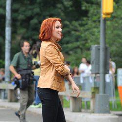Scarlett Johansson, Viuda Negra, en el rodaje de 'Los Vengadores'