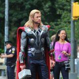 Chris Hemsworth, Thor, durante el rodaje de 'Los Vengadores'