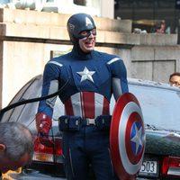 Capitán América, Chris Evans, en el set de 'Los Vengadores'
