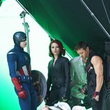 Chris Evans, Scarlett Johansson y Jeremy Renner ruedan con chroma