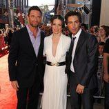 Hugh Jackman, Evangeline Lilly y Shawn Levy en la premiére de 'Acero puro'