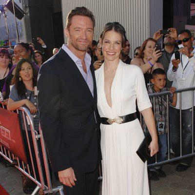 Hugh Jackman y Evangeline Lilly posan juntos en la premiére de 'Acero puro'