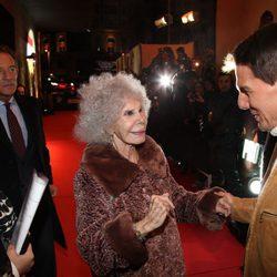 Tom Cruise junto a Cayetana de Alba en la premiére de 'Misión Imposible' en Madrid