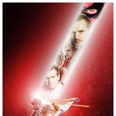 Un sable láser en el póster de 'Star Wars Episodio I: La amenaza fantasma 3D'