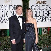 Colin Firth y su esposa en la alfombra roja de los Globos de Oro 2012