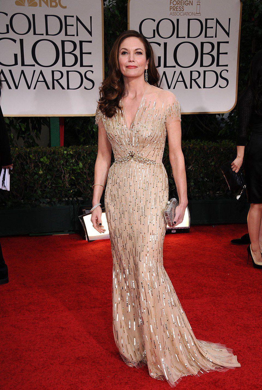 Diane Lane posa en la alfombra roja de los Globos de Oro 2012