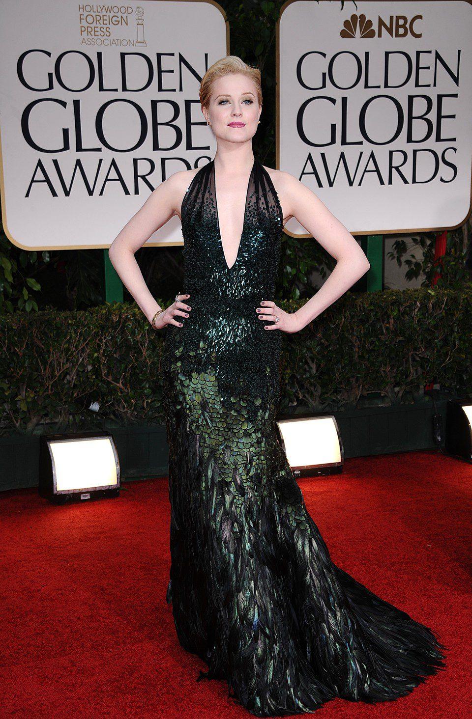 Evan Rachel Wood en la entrada de los Globos de Oro 2012