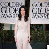 Jessica Biel en la alfombra roja de los Globos de Oro 2012