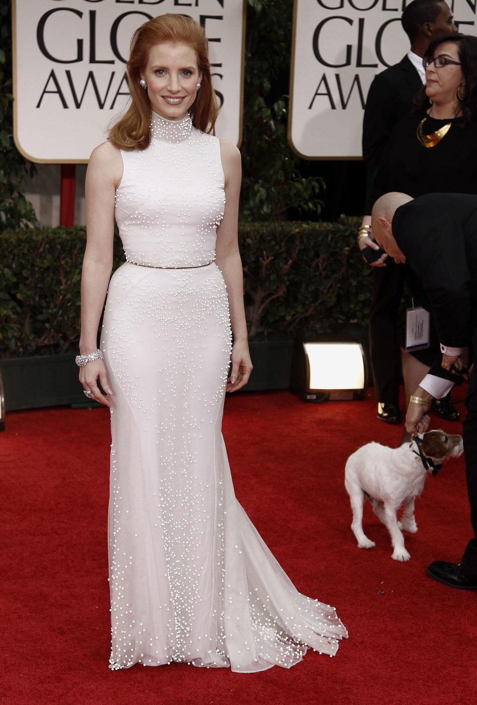 Jessica Chastain en la alfombra roja de los Globos de Oro 2012