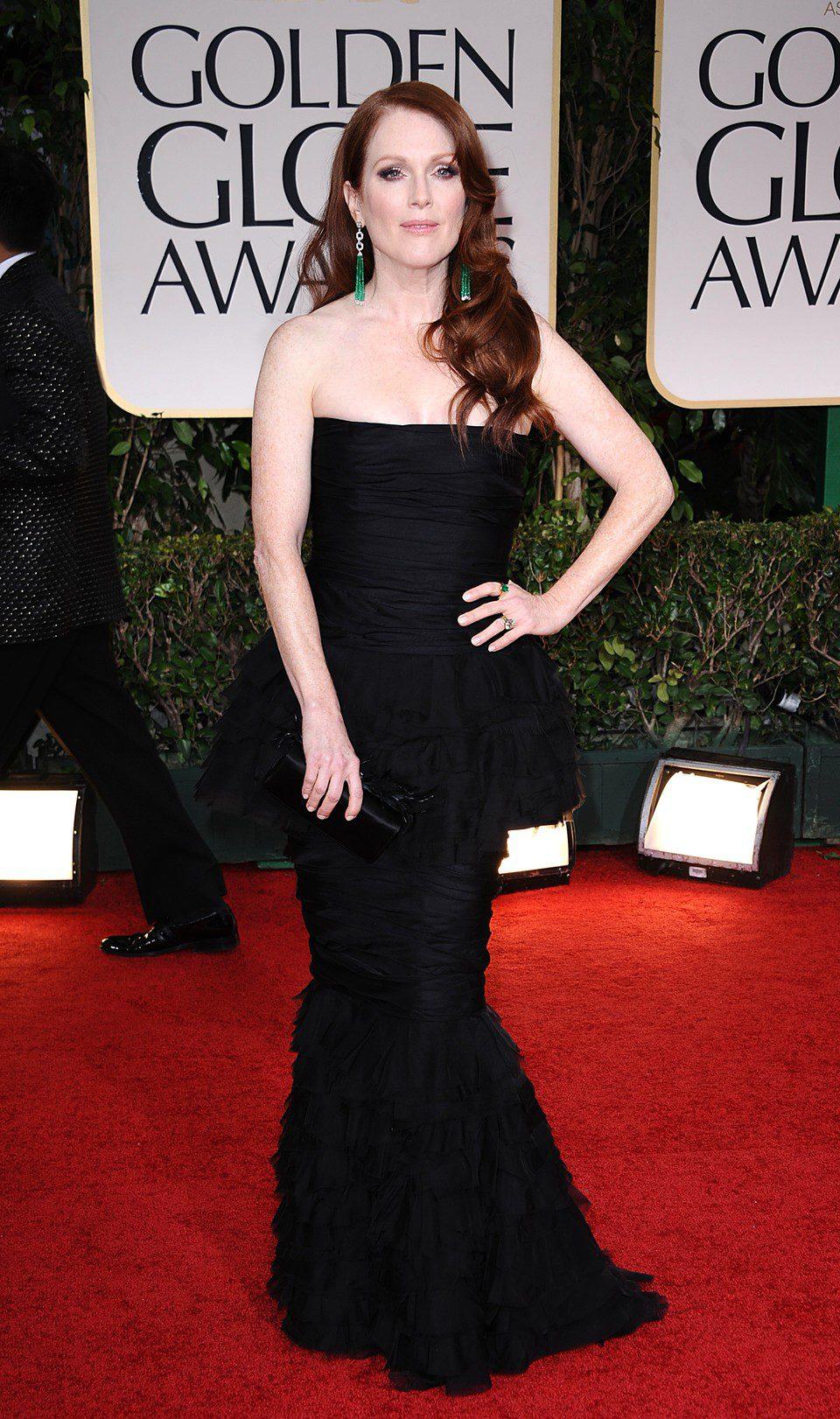 Julianne Moore en la alfombra roja de los Globos de Oro 2012