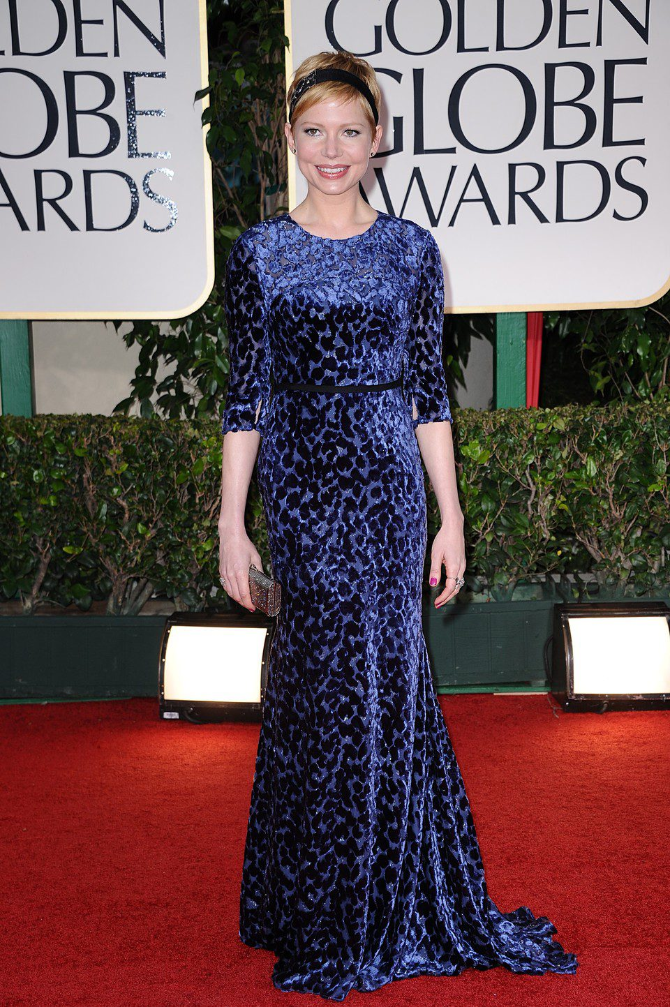Michelle Williams en el photocall de los Globos de Oro 2012