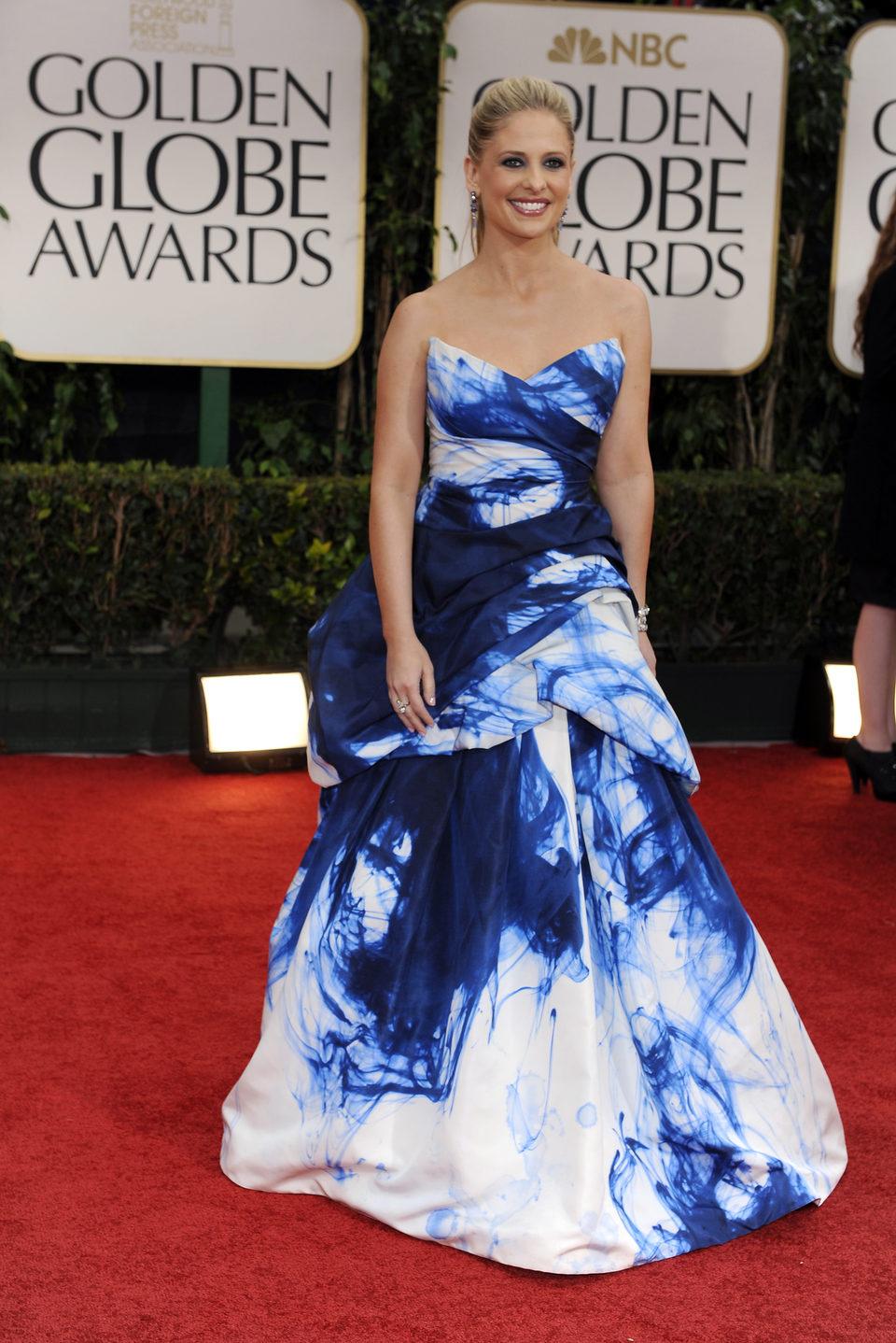 Sarah Michelle Gellar en la alfombra roja de los Globos de Oro 2012