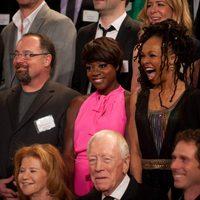 Viola Davis, Siedah Garrett y Dave Giammarco en la foto de nominados a los Oscar 2012