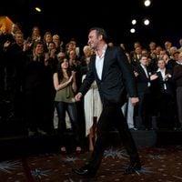 Jean Dujardin en la foto de grupo de los nominados a los Oscar 2012