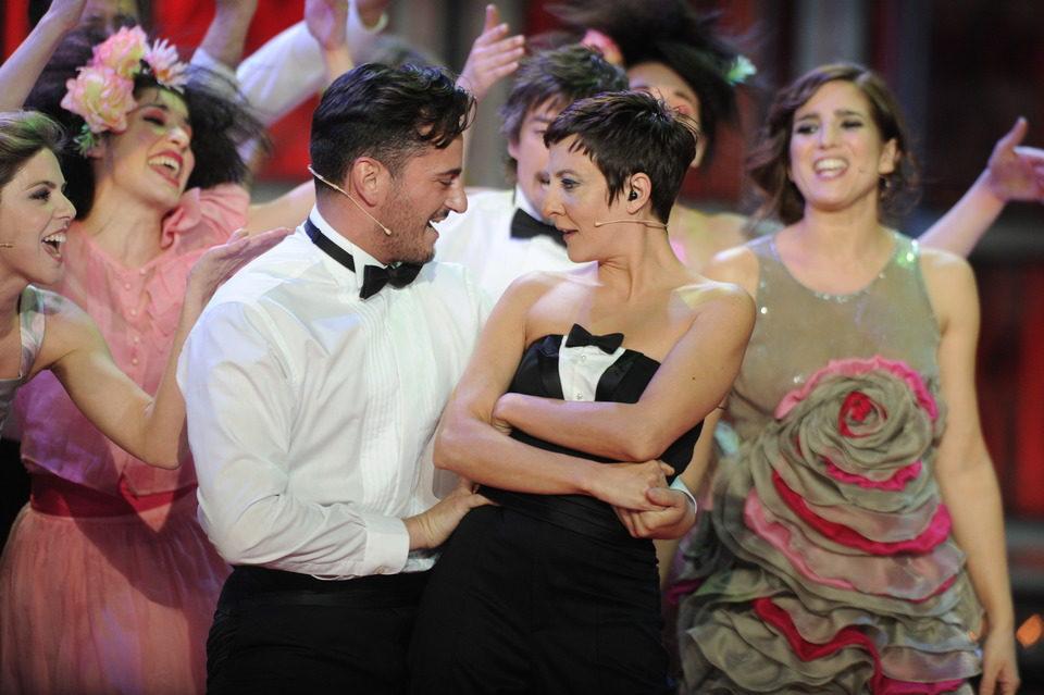 Eva Hache con Asier Etxeandia en los Goya 2012