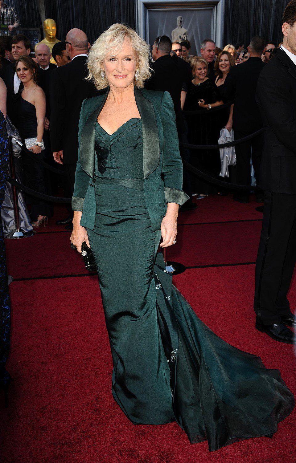 Glenn Close en la alfombra roja de los Oscar 2012